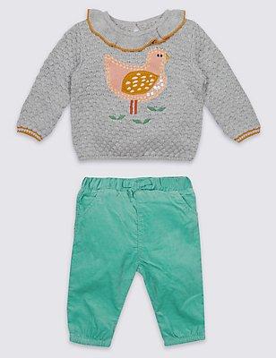 2-delige outfit met trui met vogelmotief en corduroy broekje, GRIJSWIT, catlanding