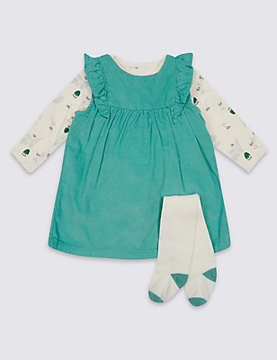 3 Piece Cord Dress & Bodysuit with Tights Outfit, SOFT GREEN, catlanding