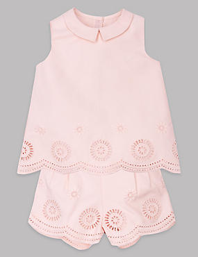 2 Piece Embroidered Top & Shorts Outfit, PINK, catlanding