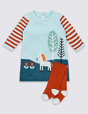 2 Piece Knitted Baby Dress with Tights, PALE BLUE, catlanding