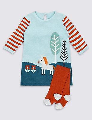 2-teiliges Baby-Strick-Outfit aus Kleid mit Strumpfhose, BLAU BLASS, catlanding