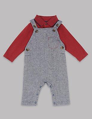 2 Piece Dungarees & Bodysuit Outfit, CHESTNUT, catlanding