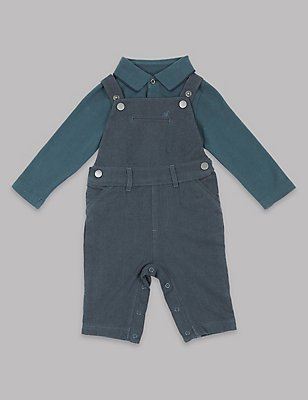 2-teiliges Outfit, bestehend aus Latzhose und Body, MARINEBLAU DUNKEL, catlanding