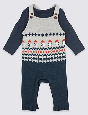 2 Piece Fairisle Knitted Dungarees & Bodysuit, GREY MIX, catlanding