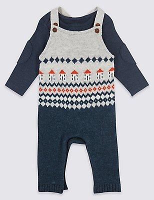2-teiliges Outfit mit Stricklatzhose und Body im Norwegermuster, GRAU MELANGE, catlanding