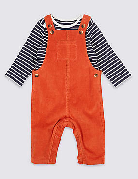 2 Piece Dungarees & Bodysuit Outfit, DARK ORANGE, catlanding