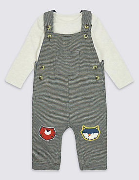 2 Piece Applique Knee Dungarees & Bodysuit Outfit, GREEN MIX, catlanding