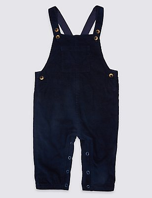 Pure Cotton Cord Dungarees, NAVY, catlanding