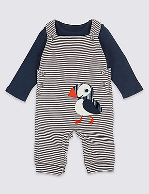 2 Piece Pure Cotton Dungarees & Bodysuit Outfit, NAVY MIX, catlanding