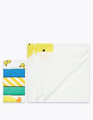 5er-Pack quadratische Mulltücher aus reiner Baumwolle, WEISS MELANGE, catlanding
