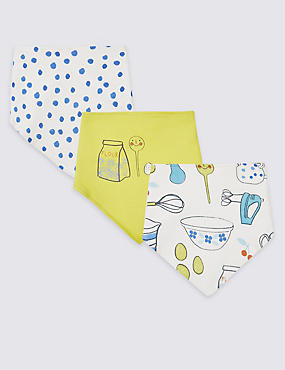 3 Pack Pure Cotton Dribble Bibs, LIGHT AQUA, catlanding