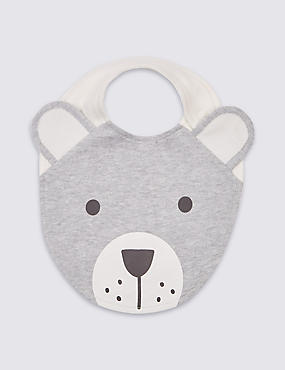 Pure Cotton Bear Applique Bib, GREY MIX, catlanding