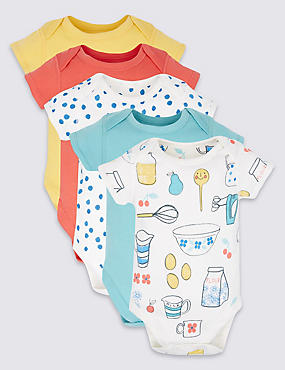 5 Pack Pure Cotton Flat Seams Bodysuits, MULTI/BRIGHTS, catlanding