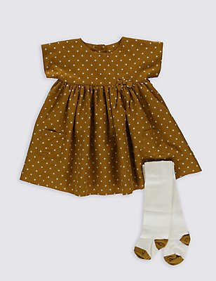 2 Piece Woven Dress with Tights, OCHRE, catlanding
