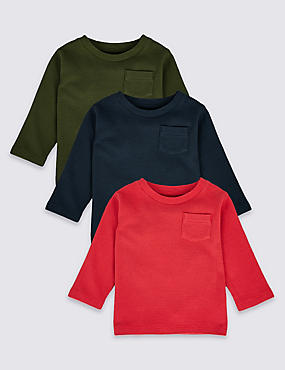 3 Pack Pure Cotton T-shirt (0-24 Months), MULTI, catlanding
