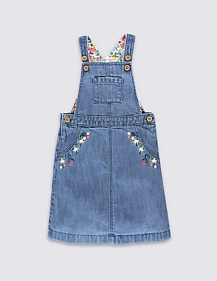 Denim Dungaree Dress, DENIM, catlanding