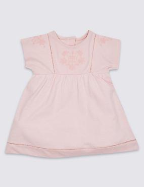 Pure Cotton Embellished Jersey Dress, LIGHT PINK, catlanding