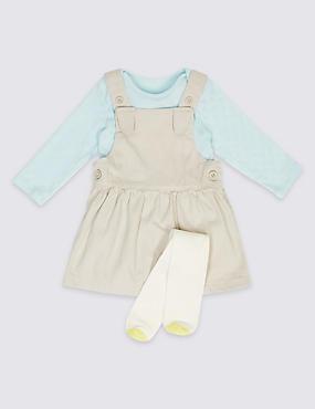 Ensemble bébé 3pièces avec robe chasuble, body et collants, GRIS ASSORTI, catlanding