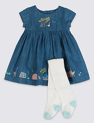 2 Piece Embroidered Baby Dress with Tights, DENIM, catlanding