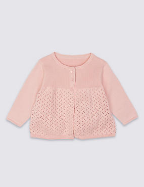 Pure Cotton Pointelle Cardigan, PINK MIX, catlanding