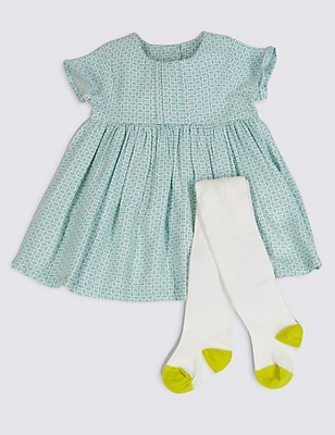 2 Piece Baby Dress with Tights , BLUE MIX, catlanding