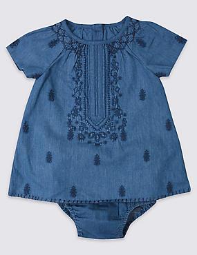 Ensemble 2pièces 100% coton avec robe et culotte, CHAMBRAY, catlanding