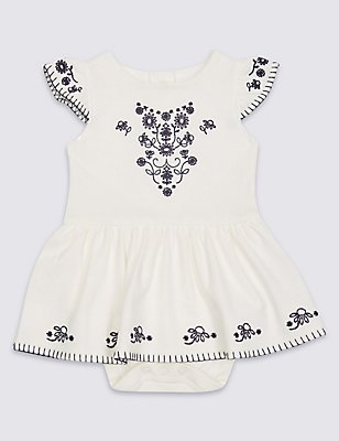 Pure Cotton Embellished Dress, WINTER WHITE, catlanding