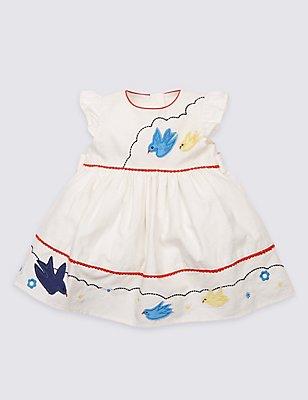 Pure Cotton Applique Dress, WINTER WHITE, catlanding