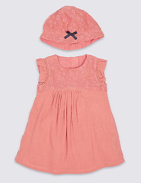 2 Piece Floral Lace Dress with Hat, ORANGE MIX, catlanding