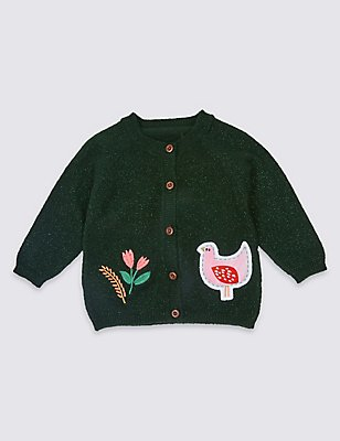Applique Pocket Cardigan, GREEN, catlanding