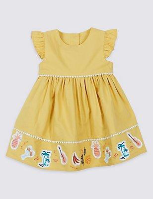 Pure Cotton Applique Dress, YELLOW MIX, catlanding