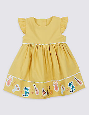 Pure Cotton Applique Dress, YELLOW MIX, catlanding