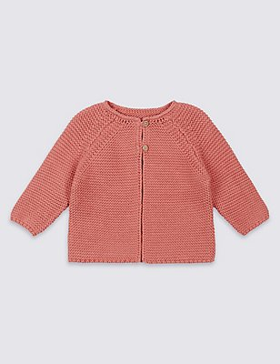 Pure Cotton Knitted Cardigan, TERRACOTTA, catlanding