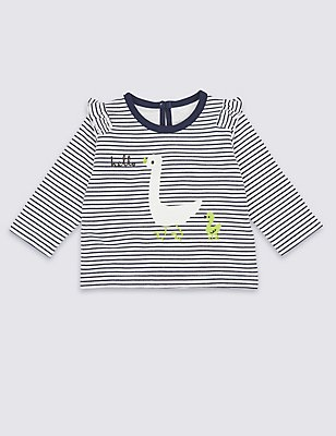 Pure Cotton Striped Sweatshirt, BLUE MIX, catlanding