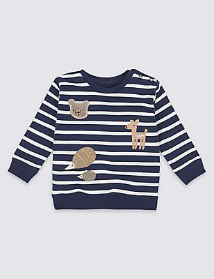 Pure Cotton Stripe Applique Sweatshirt, BLUE MIX, catlanding