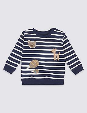 Gestreiftes Sweatshirt aus reiner Baumwolle mit Applikation, BLAU MELANGE, catlanding