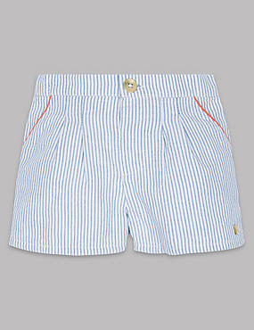 Pure Cotton Striped Shorts, ICE BLUE, catlanding