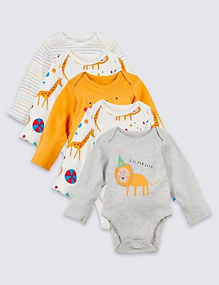 5 Pack Pure Cotton Animal Party Bodysuits, WHITE MIX, catlanding