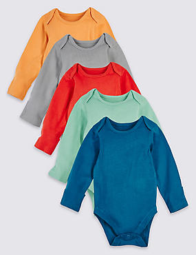 5 Pack Pure Cotton Assorted Bodysuits, IVORY MIX, catlanding