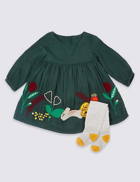 2 Piece Applique Baby Dress with Tights, GREEN, catlanding