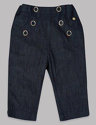 Pure Cotton Denim Trousers, DENIM MIX, catlanding