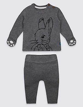2 Piece Pure Cotton Peter Rabbit™ Top & Bottom Outfit, GREY MARL, catlanding
