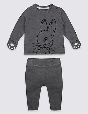 Ensemble 2pièces 100% coton avec top et bas à motif Peter Rabbit™, GRIS CHINÉ, catlanding