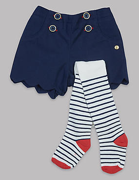 2 Piece Shorts with Tights Outfit, NAVY, catlanding