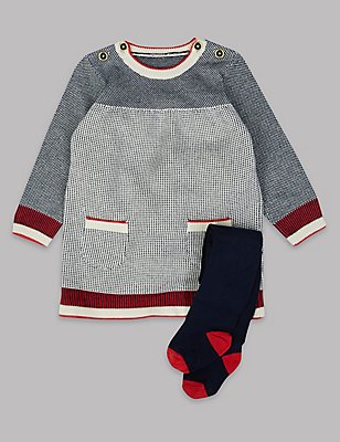 2 Piece Knitted Baby Dress with Tights, NAVY MIX, catlanding