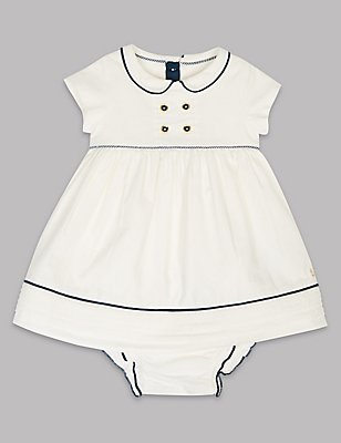 Pure Cotton Woven Baby Dress with Knickers, WINTER WHITE, catlanding