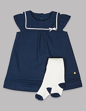 2 Piece Sailor Baby Dress with Tights, NAVY, catlanding
