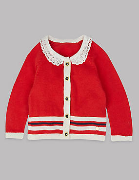Broderie Collar Knitted Cardigan, RED MIX, catlanding