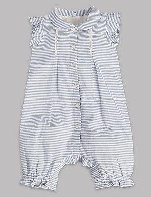 Pure Cotton Striped Romper, BLUE MIX, catlanding