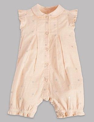 Pure Cotton Foil Spotted Romper, APRICOT MIX, catlanding